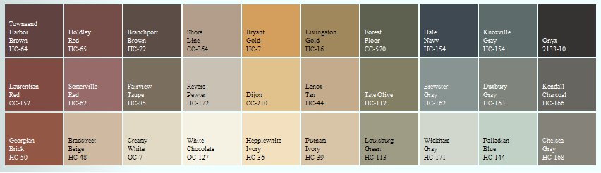Benjamin Moore Historical Color Palette Pictures To Pin On